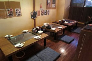 Floor seats to fit the traditional feel of the restaurant
