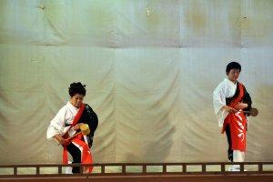 Performing the hishaku (ladle) dance