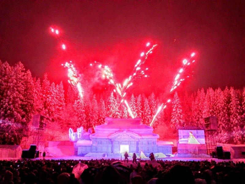 Spectacular fireworks displays over the sculptures