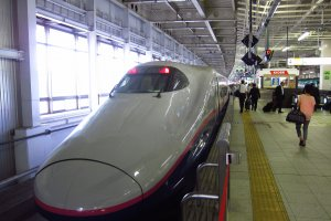 Shinkansen waiting at bay