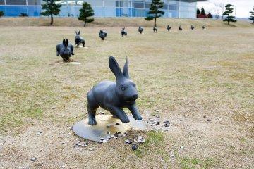 美術館外草坪上的結緣兔