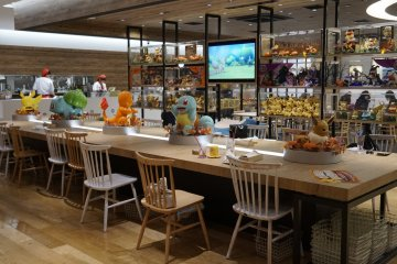 Pokemon Cafe Tokyo dining area which was decorated in Halloween theme