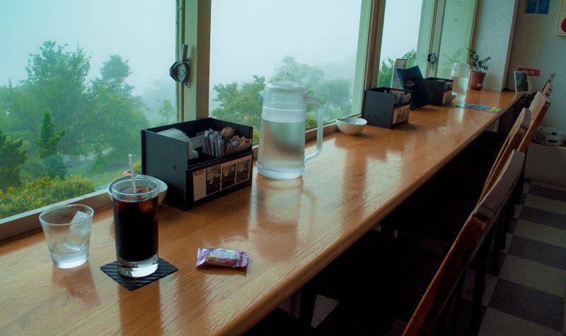 The Cafe is quiet on a misty day, though the view isn't as good.