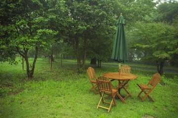 The outside seating is a nice spot to relax amongst the trees and breeze.