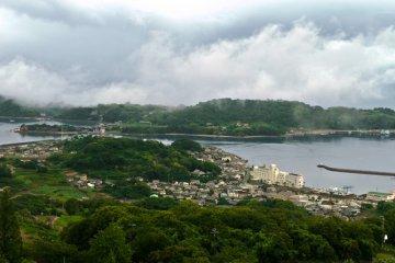 Part of the 360 degree views look down towards Ushimado port and Maejima Island.