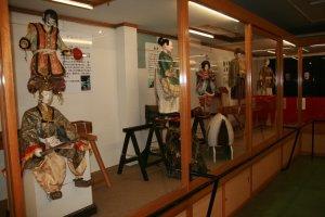 Various retired Karakuri Dolls on display