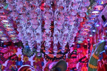 """""""Guady"""" would be the optimal word to describe the opulant décor inside Robot Restaurant."""