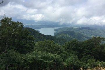 Lake Nojiri and the surrounding mountains.