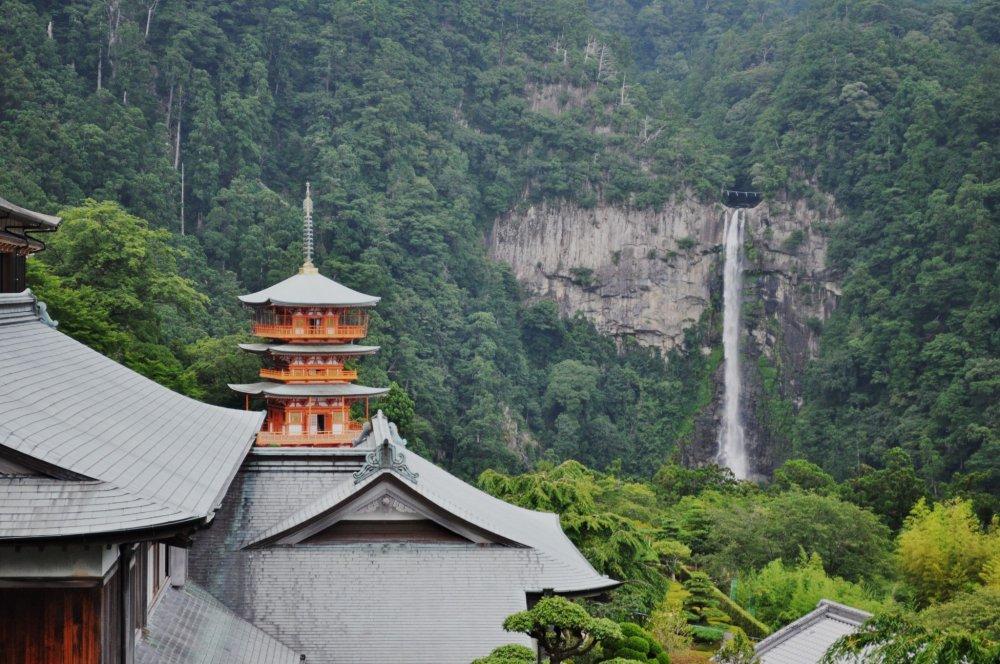 Máy ảnh của tôi hết pin trước khi đến đây nhưng may mắn thay, tôi đã chụp được một trong những quan cảnh ấn tượng nhất của Nhật Bản; đền Kumano Nachi Taisha với thác Nachi-no-otaki ở phía sau