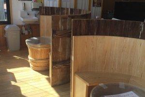 Wood vat booths.
