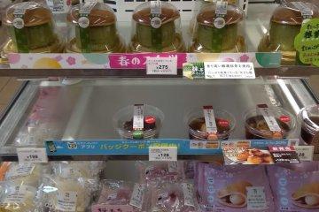 Green tea desserts at the konbini