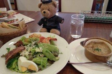 Full meal salad set at a family diner