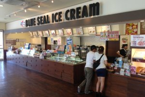 The ice cream counter and sales counter are very attractive and appealing to the eye