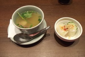 My soup and spring rolls
