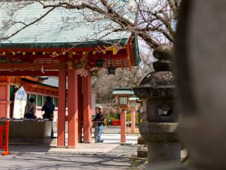 At the entrance to the shrine, visitors purify themselves before entering