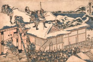 A ukiyoe print of the ronin's attack on Lord Kira's mansion