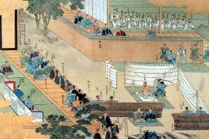 A picture of Ōishi Yoshio committing seppuku