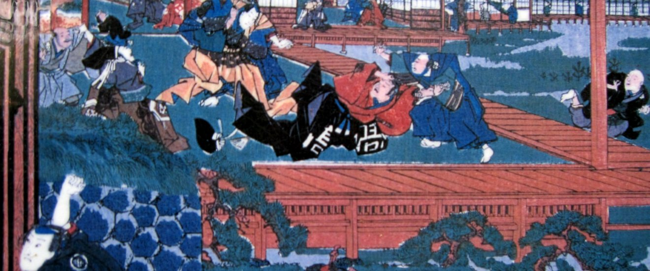 An ukiyoe depiction of Asano attacking Kira in Edo