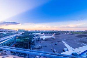 Setting sun over Haneda Airport International Terminal