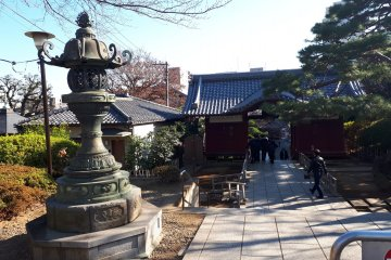 Stone lanterns amidst the open temple grounds