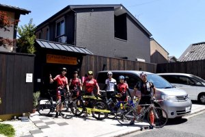 Friendly Guests and Staff at Fujitaya going for a bike ride