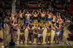 Wrestlers at the opening ceremony at the Kokugikan, Tokyo