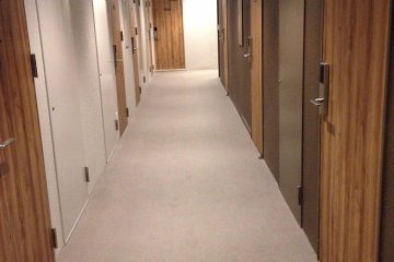 The hall outside the dorm room.
