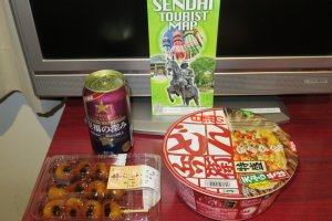 Cup noodles, Japanese sweet dango and beer