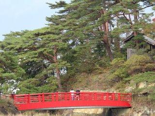 This red bridge leads to Oshima Island