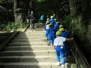 A group of school children visiting Yamadera