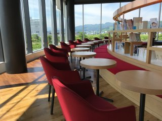 Part of the sitting area where you can enjoy a coffee, koji soft serve or gelato