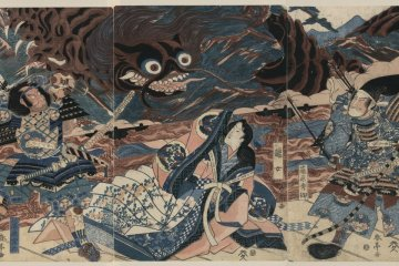 Hidesato on the right fighting the giant centipede...