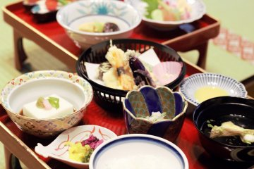 Buddhist cuisine known as shojin ryori served at Rengejo-in Temple