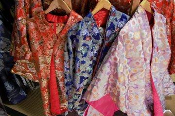 A selection of Heian period kimonos at Daimon-zaka Chaya