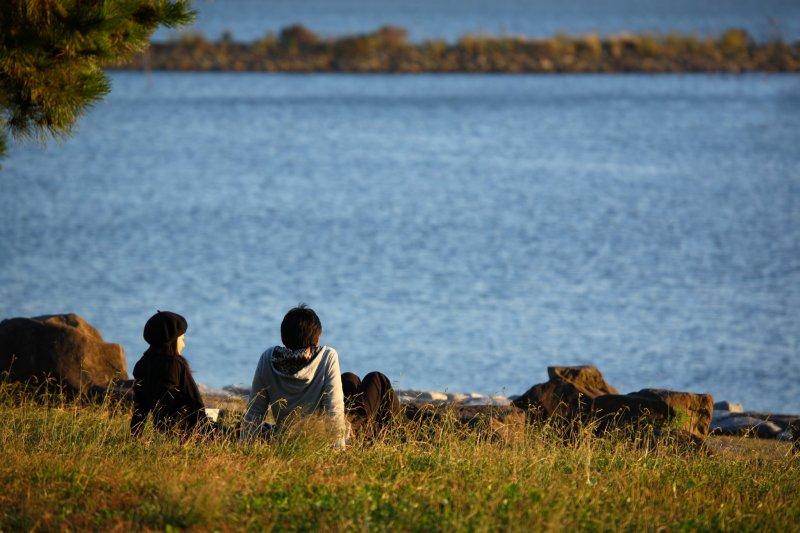Enjoying the water views from Kasai Rinkai Park