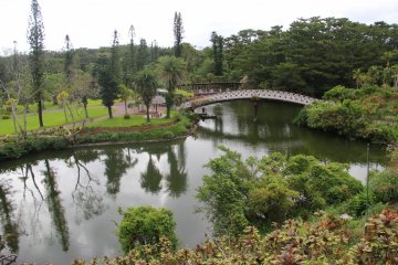<p>In addition to the lily covered water garden, there are two large ponds to walk around and over</p>