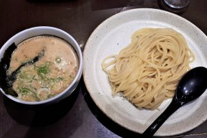 Beautifully thick noodles and rich dipping soup