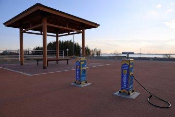 沿路上的自行車休息站