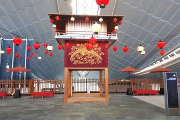 Empty pagoda gazebo by the replica bridge