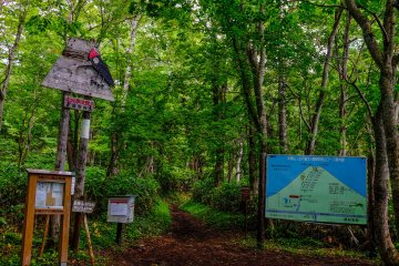 The Lake Hangetsu trailhead. Be sure to complete the hiking log before you begin hiking