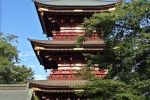 A three story pagoda built in the 18th century