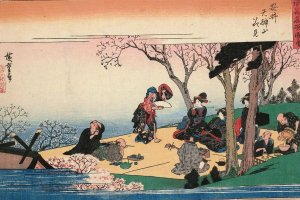 Hanami scene from the 19th century Famous Views of Osaka print series