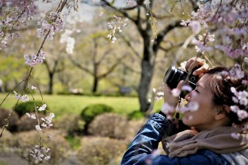 Clase de fotografía en un jardín japonés