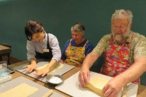 Kneading dough for some hand made Okinawa soba noodles