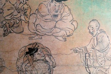 """A scene from the Shigisan Engi Emaki showing the priest Myoren asking for a donation, from the scroll """"The Rich Man of Yamazaki"""""""