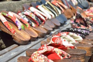 Wooden geta shoes lined up