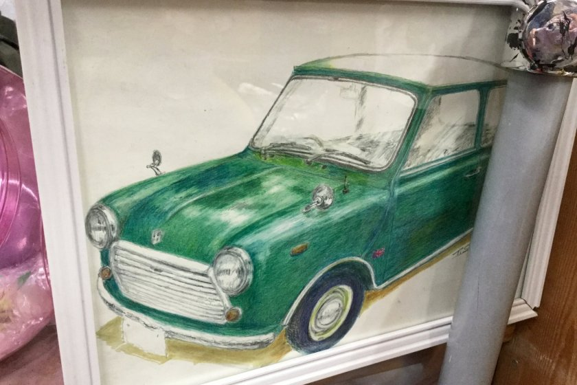 One of the Mini pictures decorating the shop.