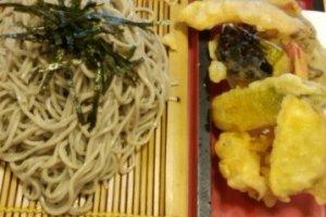 Hand made soba with super-crispy tempura