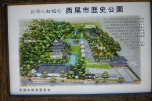 Signpost displaying the castle and grounds, Nishio