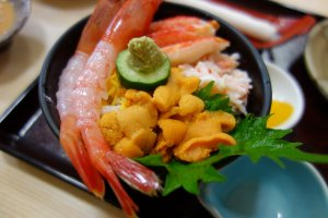 Kaisen-don, seafood on a bed of rice